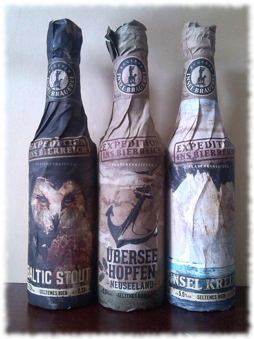 Rügener Insel-Brauerei Baltic Stout, Überseehopfen und Insel Kreide Flaschen