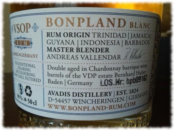 Bonpland Blanc VSOP Rücketikett