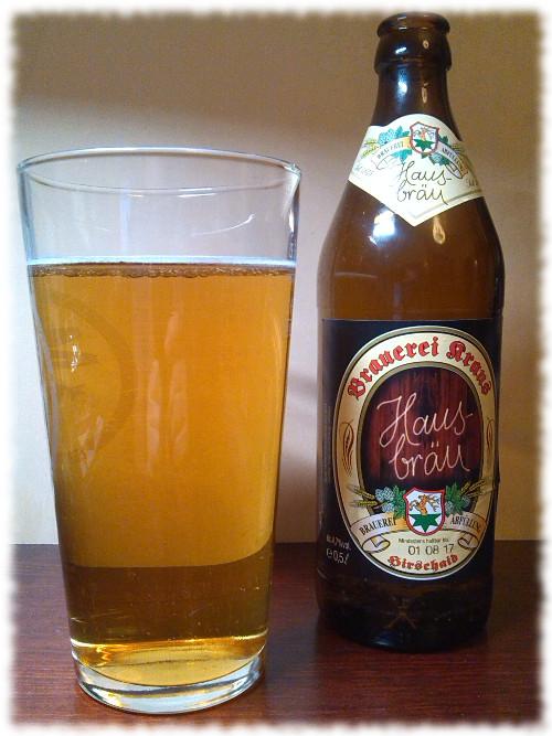 Brauerei Kraus Hausbräu Flasche und Glas