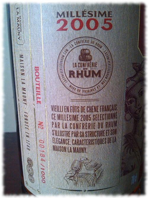 Maison La Mauny Millésime 2005 Cuvée de la Confrérie du Rhum Details