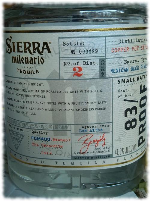 Sierra Milenario Tequila Fumado Blanco Rücketikett