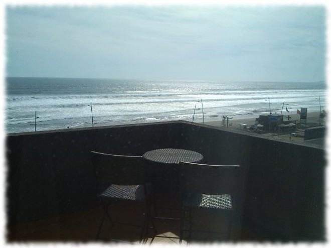 Blick auf den Pazifik vom Balkon des Hotelzimmers in La Serena