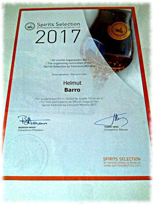 Spirits Selection 2017 Chile Urkunde