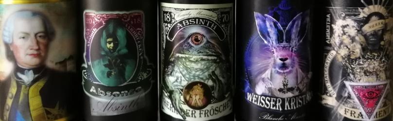 SaarWhisky Absinthe Absense, Herr der Frösche, Fürst von Absinth, Fragment und Weisser Kristall Titel